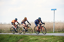 The break Britt Knaven (NED), Skylar Schneider (USA) and Nicole Steigenga (NED) at Healthy Ageing Tour 2019 - Stage 5, a 124.3 km road race in Midwolda, Netherlands on April 14, 2019. Photo by Sean Robinson/velofocus.com