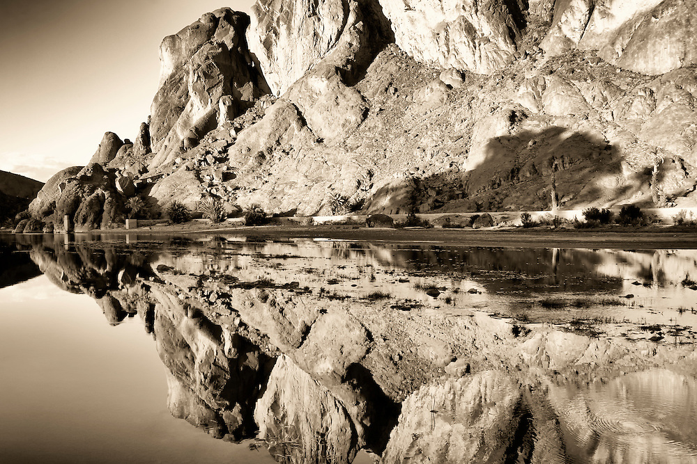 Rock reflections in a river, Fint Oasis, Ouarzazate.