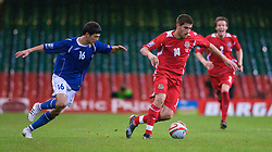 CARDIFF, WALES - Friday, September 5, 2008: Wales' Ched Evans in action against Azerbaijan's Elvin Mamedov during the opening 2010 FIFA World Cup South Africa Qualifying Group 4 match at the Millennium Stadium. (Photo by Gareth Davies/Propaganda)