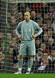 LIVERPOOL, ENGLAND - Boxing Day Monday, December 26, 2011: Liverpool's goalkeeper Jose Reina looks dejected as Blackburn Rovers score the opening goal during the Premiership match at Anfield. (Pic by David Rawcliffe/Propaganda)