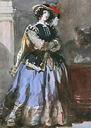Portrait of a Woman.  Watercolour. Eugene Lami (1800-1890) French painter. Woman Fashion Skirt lue