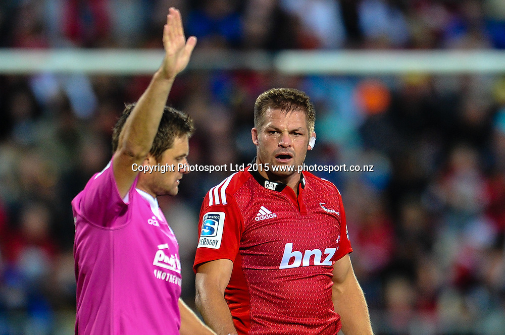 Richie McCaw of the Crusaders does not like a call from ref Nick Briant in the Super Rugby match, Crusaders v Rebels at AMI Stadium, Christchurch, New Zealand 13 February 2015. Photo:John Davidson/www.photosport.co.nz