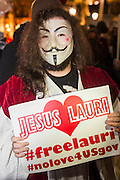 "Jesus makes an appearance during the gathering in Trafalgar Square is pretty friendly but with a strong police presence - The Million Mask March - anti-establishment protesters in V for Vendetta-inspired Guy Fawkes masks march from Trafalgar Square to Parliament Square. It was organised by Anonymous, the anarchic 'hacktivist' network. The movement is also closely identified with the Occupy protests, Wikileaks, and the Arab Spring. The UK Anonymous website describes the march on Parliament as a ""protest against austerity … the infringement of our rights … mass surveillance … war crimes … corrupt politicians."""