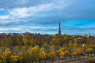 Paris, France -- November 5, 2017 -- Overlooking the Tuilery Gardens on a Paris morning, with the Eiffel tower in the background.