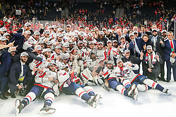 June 7, 2018: Capitals teammates, coaches, and staff celebrate winning the Stanley Cup after the Washington Capitals and Vegas Golden Knights NHL Stanley Cup Final playoff game 5 at T-Mobile Arena in Las Vegas, NV. John Crouch/CSM