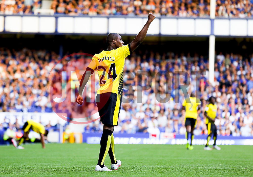 Watford's Odion Ighalo celebrates after scoring his sides second goal for 1-2 - Mandatory byline: Matt McNulty/JMP - 07966386802 - 08/08/2015 - FOOTBALL - Goodison Park -Liverpool,England - Everton v Watford - Barclays Premier League