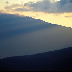 Sunset.  Mt. Lafayette(Franconia Ridge) and the late summer sky in the White Mountains.  Mt. Guyot, NH