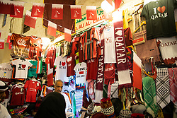 DOHA, QATAR - Thursday, December 19, 2019: Counterfeit football shirts on sale at the Souq Waqif during the FIFA Club World Cup Qatar 2019 tournament. (Pic by David Rawcliffe/Propaganda)