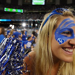 Apr 2, 2012; New Orleans, LA, USA; Kentucky Wildcats fan Chelsea Bolton poses for a photo before the finals of the 2012 NCAA men's basketball Final Four against the Kansas Jayhawks at the Mercedes-Benz Superdome. Mandatory Credit: Derick E. Hingle-US PRESSWIRE