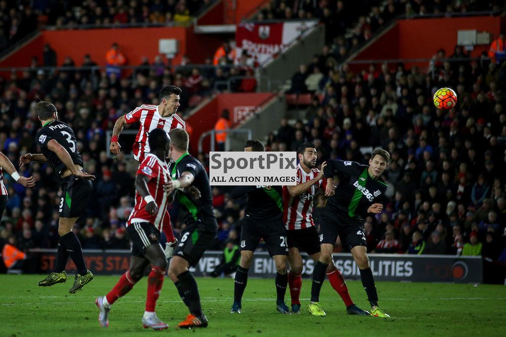 Jose Fonte heads goalwards During Southampton vs Stoke City on Saturday the 21st November 2015.