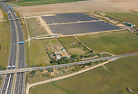 Aerial image<br /> motorway and solar energy station Salamanca Region, Castilla y Le&oacute;n, Spain