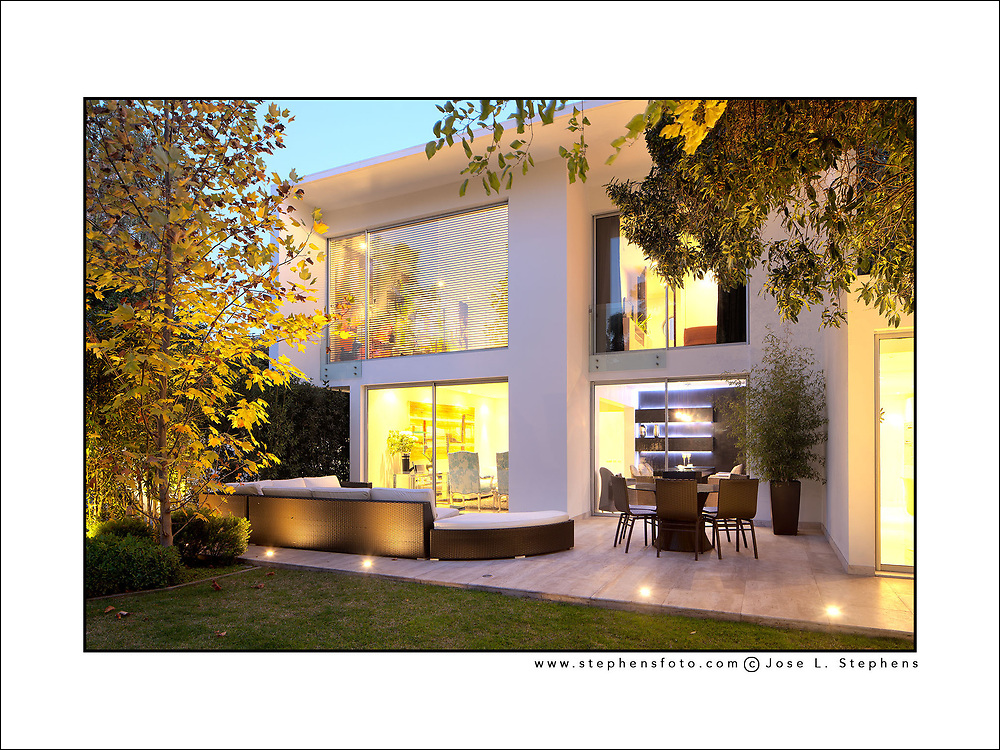 Luxury house with modern architecture in the wealthy district of Vitacura in Santiago de Chile