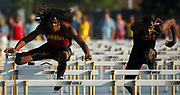 Jun 2, 2006; Norwalk, CA, USA; Richard Sherman of Dominguez (left) and Jeshua Anderson of Woodland Hills Taft compete in a 110m hurdles heat in the CIF State championships at Cerritos College. .
