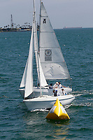 1 August 2015: Special Olympic World Games Los Angeles Sailing Finals in Long Beach, California.  Team Greece and Team USA get ready to round a marker in Cal 20's sailboat during final day of racing in Los Alamitos Bay Pacific Ocean.