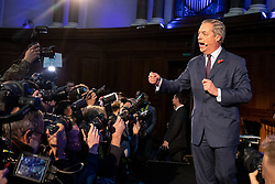 © Licensed to London News Pictures. 04/11/2019. London, UK. Brexit Party leader Nigel Farage speaks at the Emmanuel Centre to introduce 600 Prospective Parliamentary Candidates (PPC) standing for the Brexit Party ahead of the upcoming General Election. Photo credit : Tom Nicholson/LNP