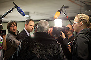 Prof. Vladimír Franz interviewed by foreign media after a discussion with all Czech presidential candidates at the National Technical Library in Prague Dejvice. Franz is a prominent Czech composer and painter, stage music author and also a registered candidate in the 2013 Czech presidential election.