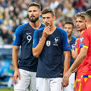 PARIS, FRANCE - September 10: Olivier Giroud #9 of France and Clement Lenglet #19 of France take their positions in the penalty box for a corner kick during the France V Andorra, UEFA European Championship 2020 Qualifying match at Stade de France on September 10th 2019 in Paris, France (Photo by Tim Clayton/Corbis via Getty Images)