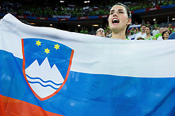 Supporters of Slovenia during basketball match between Slovenia and Georgia at Day 2 in Group C of FIBA Europe Eurobasket 2015, on September 6, 2015, in Arena Zagreb, Croatia. Photo by Vid Ponikvar / Sportida