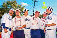 In vintage base ball uniforms, baseball team members of Atlantic Base Ball Club, a member of the Vintage Base Ball Association and Mid Atlantic Base Ball League, at Merrcik Street Fair, in Merrick, New York, on October 22, 2011. Editorial