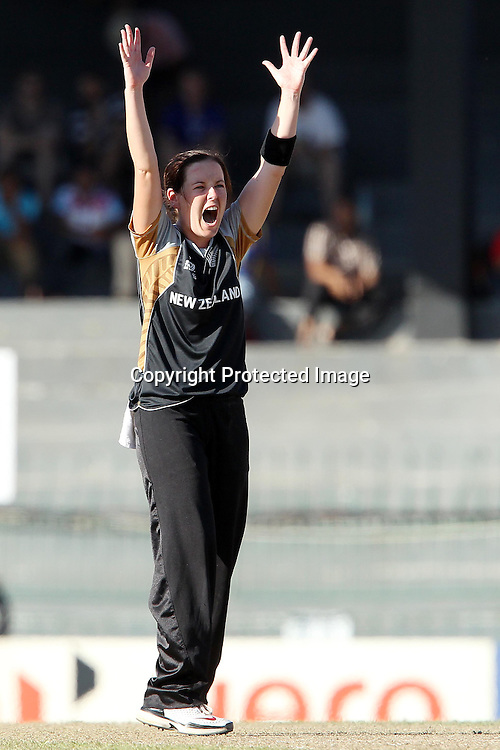 Erin Bermingham appeals for the wicket of Laura Marsh of England during the ICC Women's World Twenty20 Semi final match between England and New Zealand held at the Premadasa Stadium in Colombo, Sri Lanka on the 4th October  2012<br /> <br /> Photo by Ron Gaunt/SPORTZPICS/PHOTOSPORT