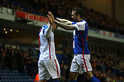 Tony Watt and Blackburn Rovers defender, Shane Duffy  during the Sky Bet Championship match between Blackburn Rovers and Birmingham City at Ewood Park, Blackburn, England on 8 March 2016. Photo by Pete Burns.