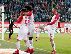 04.02.2018, WWK Arena, Augsburg, GER, 1. FBL, FC Augsburg vs Eintracht Frankfurt, 21. Runde, im Bild Marco Richter (FC Augsburg #23) Caiuby Francisco da Silva (FC Augsburg #30) Daniel Baier (FC Augsburg #10) Jubel nach dem 3:0 // during the German Bundesliga 21th round match between FC Augsburg and Eintracht Frankfurt at the WWK Arena in Augsburg, Germany on 2018/02/04. EXPA Pictures © 2018, PhotoCredit: EXPA/ Eibner-Pressefoto/ Harry Langer<br /> <br /> *****ATTENTION - OUT of GER*****