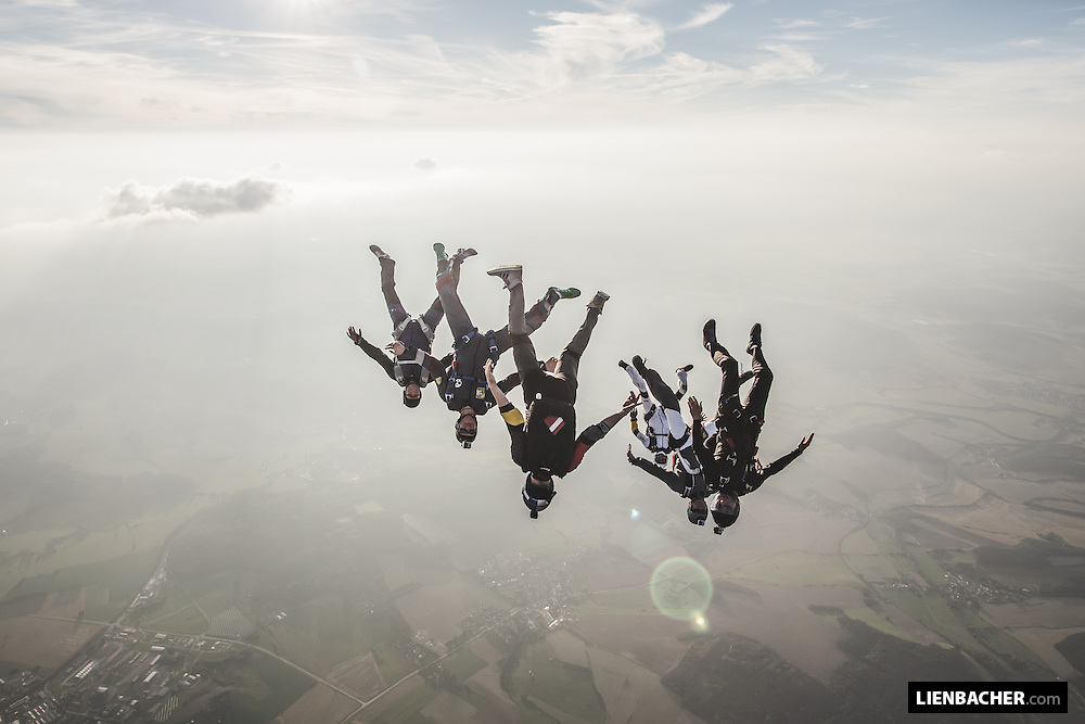 Marco Fürst of the Red Bull Skydive Team leads a nice angle formation over Skydive Pink Klatovy
