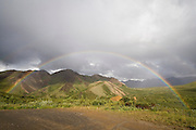 Rainbow over Alaska Range from Sable Pass, Denali National Park, Alaska