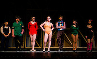 """""""Sheila"""" Michele Young steps up for her audition during the dress rehearsal for """"Chorus Line"""" at Gilford High School Wednesday evening.  (Karen Bobotas/for the Laconia Daily Sun)"""