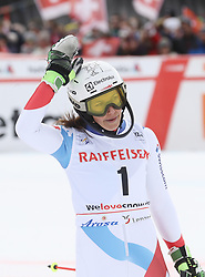 28.01.2018, Lenzerheide, SUI, FIS Weltcup Ski Alpin, Lenzerheide, Slalom, Damen, 2. Lauf, im Bild Wendy Holdener (SUI) // Wendy Holdener of Switzerland reacts after her 2nd run of ladie's Slalom of FIS ski alpine world cup in Lenzerheide, Austria on 2018/01/28. EXPA Pictures © 2018, PhotoCredit: EXPA/ Sammy Minkoff<br /> <br /> *****ATTENTION - OUT of GER*****