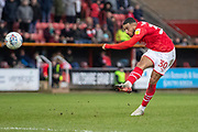 Keshi Anderson of Swindon Town shoots at goal during the EFL Sky Bet League 2 match between Swindon Town and Forest Green Rovers at the County Ground, Swindon, England on 7 March 2020.