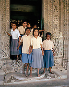 School children at entrance of Ranakpur main temple, India
