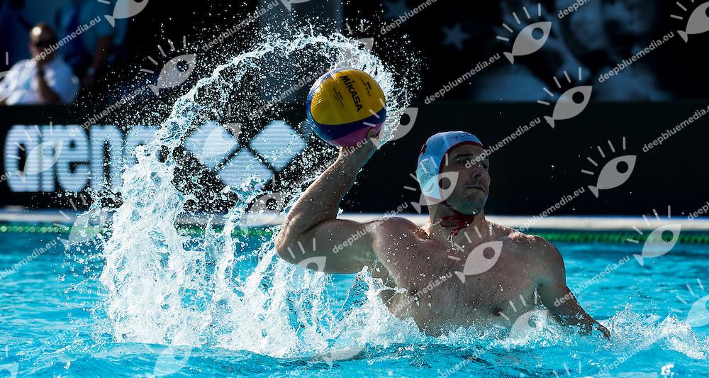 4 JANOVIC Nikola  Jug<br /> JUG DUBROVNIK (white) - VK PRIMORJE (blue)<br /> LEN CHAMPIONS LEAGUE FINAL SIX BARCELONA 2015<br /> Water Polo Pallanuoto<br /> Day 02<br /> Barcelona May 28 - 30  2015<br /> Photo Giorgio Scala/Deepbluemedia/Insidefoto