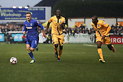 AFC Wimbledon midfielder Dean Parrett (18) shoots at goal during The FA Cup match between Sutton United and AFC Wimbledon at Gander Green Lane, Sutton, United Kingdom on 7 January 2017. Photo by Stuart Butcher.