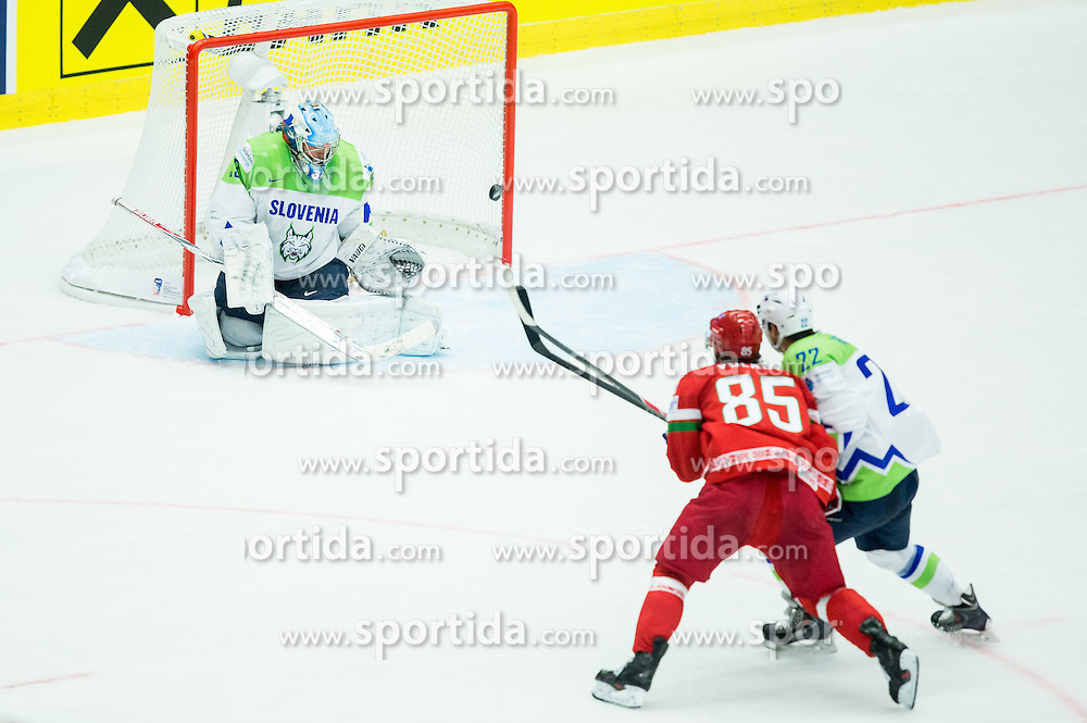 Artyom Volkov of Belarus vs Robert Kristan of Slovenia and Marcel Rodman of Slovenia during Ice Hockey match between Belarus and Slovenia at Day 2 in Group B of 2015 IIHF World Championship, on May 2, 2015 in CEZ Arena, Ostrava, Czech Republic. Photo by Vid Ponikvar / Sportida