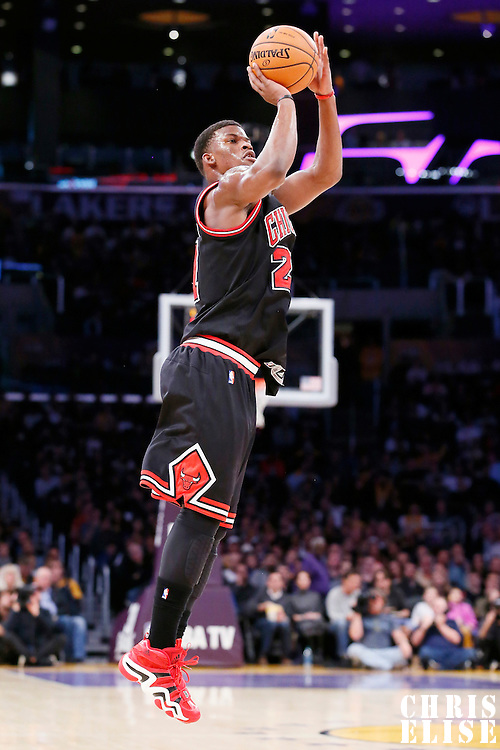 09 February 2014: Chicago Bulls shooting guard Jimmy Butler (21) takes a jumpshot during the Chicago Bulls 92-86 victory over the Los Angeles Lakers at the Staples Center, Los Angeles, California, USA.