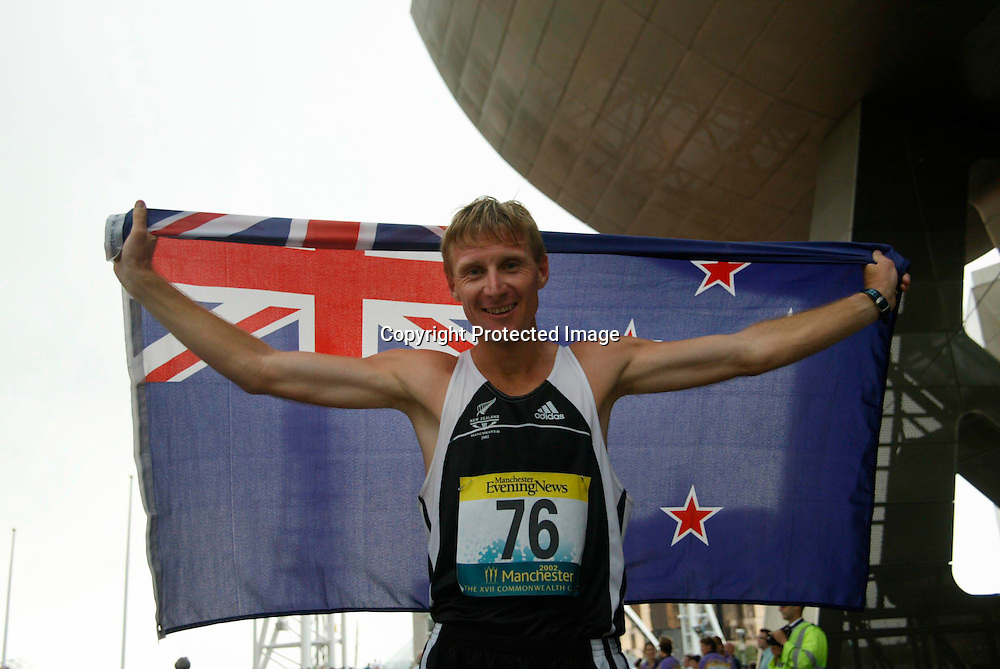 24 July 2002, Commonwealth Games, Men's 50km Walk-Final, Manchester, England.<br />Craig Barrett of New Zealand. He finished second to take the silver medal.<br />Pic: Sandra Teddy/Photosort