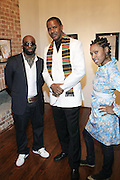 l to r: Russell Frederick, Jamel Shabazz and Shantrell P. Lewis at ' Shoot-Out: Lonely Crusade..An Homage to Jamel Shabazz ' held at The George and Leah McKenna African American Museum of Art on December 12, 2008 in New Orleans, Louisana