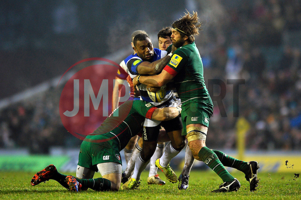 Semesa Rokoduguni of Bath Rugby takes on the Leicester Tigers defence - Photo mandatory by-line: Patrick Khachfe/JMP - Mobile: 07966 386802 04/01/2015 - SPORT - RUGBY UNION - Leicester - Welford Road - Leicester Tigers v Bath Rugby - Aviva Premiership