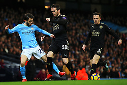 Bernardo Silva of Manchester City takes on Christian Fuchs of Leicester City - Mandatory by-line: Matt McNulty/JMP - 10/02/2018 - FOOTBALL - Etihad Stadium - Manchester, England - Manchester City v Leicester City - Premier League
