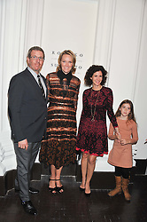 Left to right, MARC GLIMCHER, ANDREA GLIMCHER, MOLLIE DENT-BROCKLEHURST and her daughter VIOLET WARD at a party to celebrate the launch of the new gallery Pace at 6 Burlington Gardens, London on 3rd October 2012.
