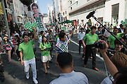 Hiroya Masuda, a major candidate for Tokyo gubernatorial election greets supporters in Ginza,Tokyo. The former internal affairs minister has the backing of the Liberal Democratic Party, Komeito and the Party for the Japanese Kokoro in the July 31 election. 18/07/2016-Tokyo, JAPAN