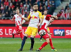 03.04.2019, Merkur Arena, Graz, AUT, OeFB Uniqa Cup, GAK vs Red Bull Salzburg, Halbfinale, im Bild Munas Dabbur (FC Red Bull Salzburg) und Marco Perchtold (GAK) // during the halffinal match of the ÖFB Uniqa Cup between GAK and Red Bull Salzburg at the Merkur Arena in Graz, Austria on 2019/04/03. EXPA Pictures © 2019, PhotoCredit: EXPA/ Erwin Scheriau
