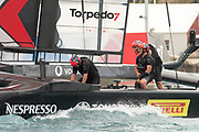 The Great Sound, Bermuda. 11th June 2017. Smiles aboard Emirates Team New Zealand after winning a close finish in race six of the Louis Vuitton America's Cup Challenger playoff finals against Artemis Racing (SWE) .