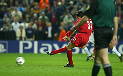 LIVERPOOL, ENGLAND - Tuesday, March 19, 2002: Liverpool's Jari Litmanen scores the opening goal against AS Roma from the penalty spot during the UEFA Champions League Group B match at Anfield. (Pic by David Rawcliffe/Propaganda)
