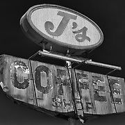 J's Coffee Shop Sign Northbound View - Delano, CA - Highway 99 - HDR - Infrared Black & White