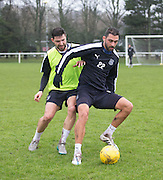 Dundee's new Spanish striker Arturo Juan Rodr&iacute;guez Perez-Reverte holds off Kostadin Gadzhalov as he trains with his new team mates at the University Grounds, Riverside, Dundee<br /> <br />  - &copy; David Young - www.davidyoungphoto.co.uk - email: davidyoungphoto@gmail.com