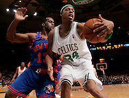Paul Pierce of the Boston Celtics is guarded by Malik Rose of the New York Knicks defends at Madison Square Garden in New York City. Sunday 04 December 2005 The Knicks won the game 102-99 Photo by Andrew Gombert for the New York Times