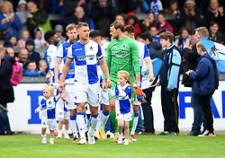 Lee Brown of Bristol Rovers leads out the players for his last time in the blue and white quarters - Mandatory by-line: Paul Knight/JMP - 28/04/2018 - FOOTBALL - Memorial Stadium - Bristol, England - Bristol Rovers v Gillingham - Sky Bet League One