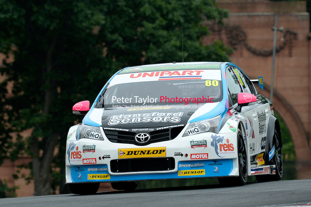#80 Tom Ingram GBR Speedworks Motorsport Toyota Avensis  during first practice for the BTCC Oulton Park 4th-5th June 2016 at Oulton Park, Little Budworth, Cheshire, United Kingdom. June 04 2016. World Copyright Peter Taylor/PSP.